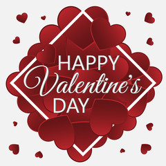 Vector illustration of a congratulation with Valentine's day with red hearts.