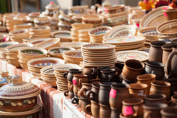 Ceramics festival, Ceramics trade in Bolesławiec. Boleslawiec, Dolnoslaskie/ Poland- 08.20.14 : Boleslawiec - The city of ceramics