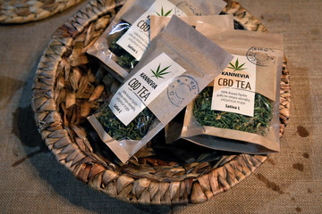 Cannabis tea packages are seen at the 1st International Cannabis Expo, in Athens