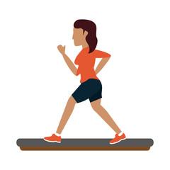 Woman running cartoon icon vector illustration graphic design