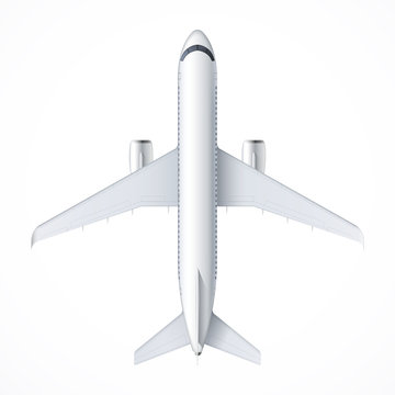 Flying airplane, jet aircraft, airliner. Top view of detailed passenger air plane isolated on white background. Vector illustration