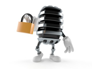 Microphone character holding padlock