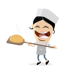 cartoon illustration of a female baker