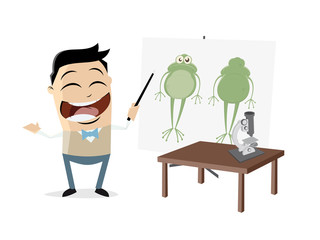 biology teacher shows a frog
