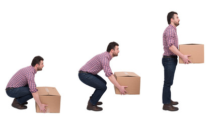 Proper heavy weight boxes lifting against backache