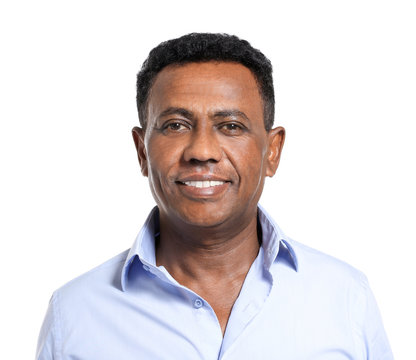 Mature African-American man on white background