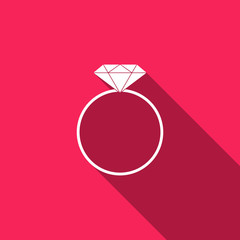 Diamond engagement ring icon isolated with long shadow. Flat design. Vector Illustration