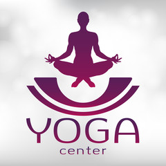 Yoga logo, vector icon, emblem for yoga center. Figure of a man sitting in a lotus pose, vector silhouette. Meditation relaxation human with a font on a textured light background with highlights