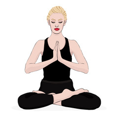Yoga pose, woman meditating in a lotus pose, vector multicolored drawing portrait. Meditation relaxation cartoon girl sitting cross-legged and hands clasped on the chest. Isolated on white background