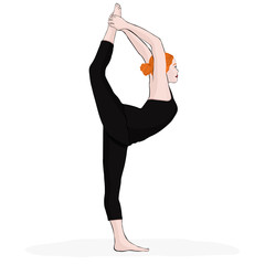 Yoga pose, woman doing stretching legs, leg split, vector multicolored drawing portrait. Cartoon girl is engaged in gymnastics. Isolated on white background