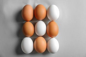 Chicken eggs on light background