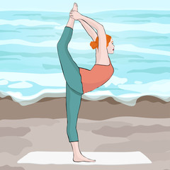 Yoga pose, woman doing stretching legs, leg split, vector multicolored drawing portrait. Cartoon girl is engaged in gymnastics against the background of the beach and sea