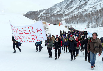 Demonstrators march from Claviere in Italy to Montgenevre in France to ask for open borders for migrants