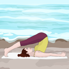 Yoga, woman in a pose halasana, vector multicolored drawing portrait. Cartoon girl is engaged in gymnastics against the background of the beach, sea and the sky