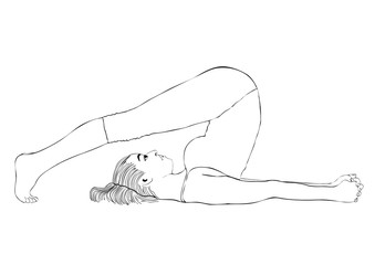 Yoga, woman in a pose halasana, vector coloring drawing portrait. Cartoon girl is engaged in gymnastics. Contour outline black and white illustration. Isolated on white background