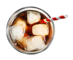 Cold cola in glass on white background