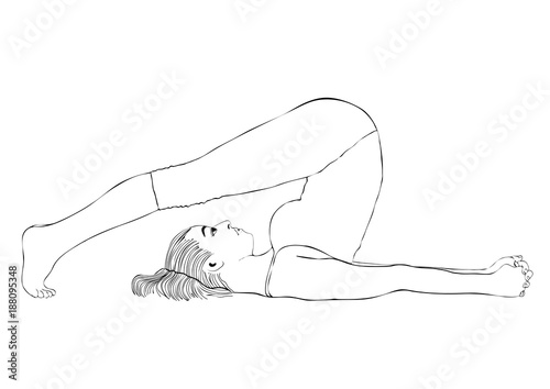 yoga woman in a pose halasana vector coloring drawing portrait