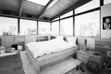 Schlafzimmer im Patio (B&W)