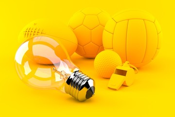 Sport background with light bulb