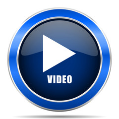 Video play vector icon. Modern design blue silver metallic glossy web and mobile applications button in eps 10