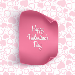 Valentines day card background with seamless heart pattern and realistic paper. Vector illustration. Wallpaper, illustration for flyers, posters and brochure covers