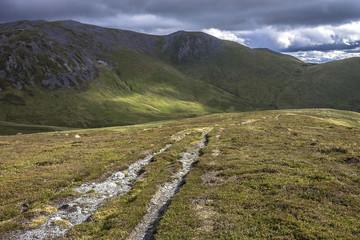 Scottish landscape in the mountains. Glenshee, Braemar in Scotland. September 2017
