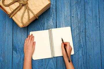 Write in notepad flatlay