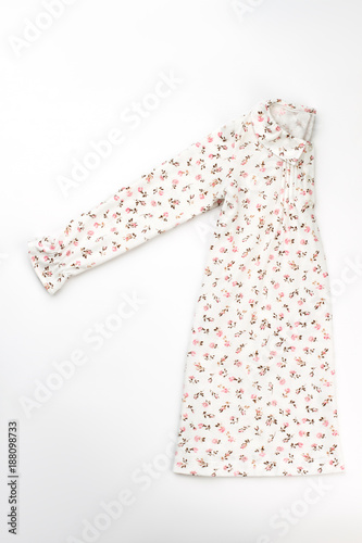 Long sleeve nightgown on white. Fine flower pattern. Cozy and fashionable  sleepwear for a little princess. a0fc104c8