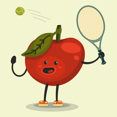 Cute Apple cartoon character playing tennis. Eating healthy and fitness. Flat retro style illustration concept.