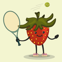 Cute Strawberry cartoon character playing tennis. Eating healthy and fitness. Flat retro style illustration concept.
