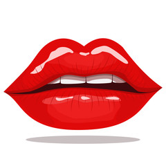 Lips with red lipstick. Open mouth cartoon vector illustration isolated on white background. Fashion and glamour.