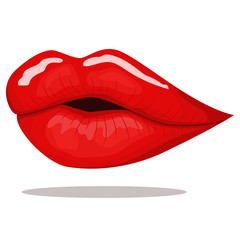 Red lips kiss. Vector cartoon illustration isolated on a white background. Fashion and glamour.