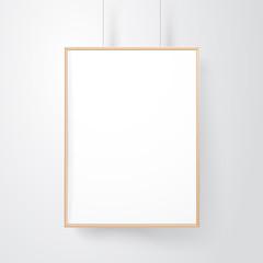 Blank wood frame on the wall vector mockup
