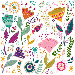 Art set vector colorful illustration with beautiful birds flowers. Art poster for decoration your interior and for use in your unique design. Scandinavian style. Folk art.
