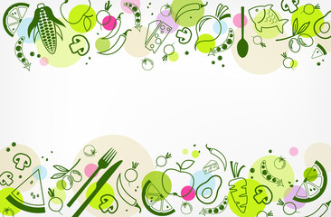 colourful & healthy food background - vector illustration