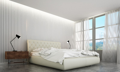 3D rendering interior design of minimal bedroom and wall texture background