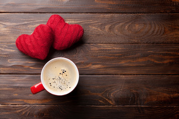 Valentines day greeting card with red hearts and coffee