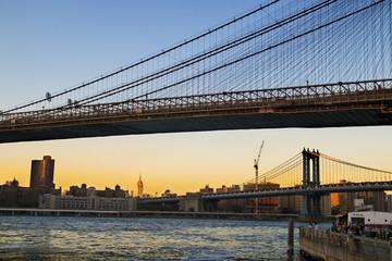Manhattan Bridge and Brooklyn Bridge on the evening, Manhattan New York