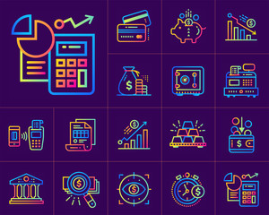 Linear icons collection of finance, banking. Modern for mobile application and web concepts