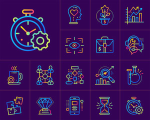 Set of flat icons for startup business. Suitable for print, website and presentation