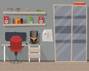 Interior of the room with a closet and a computer. Vector illustration