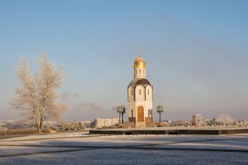 Volgograd. Russia. January 4, 2018. Orthodox chapel at the military memorial cemetery on Mamayev Kurgan in Volgograd