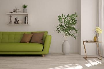 Idea of white minimalist room with green sofa. Scandinavian interior design. 3D illustration
