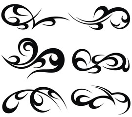 Abstract tribal tattoo patterns