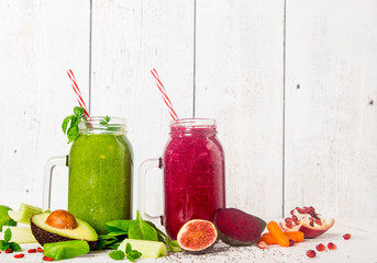 Healthy fresh smoothies with ingredients.