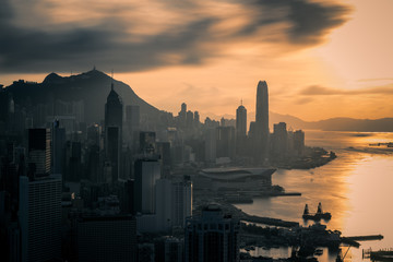 Wall Mural - Hong Kong City skyline at sunset