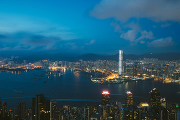 Wall Mural - View of Hong Kong City skyline at dusk. View from The peak Hongkong.