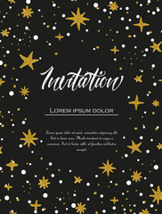 Vector illustration of hand painted stars. Black background with watercolor pattern