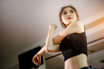 Asian girl in fitness or gym center