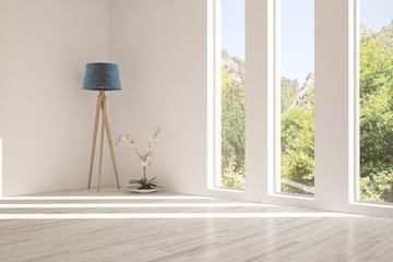 White empty room with lamp and summer landscape in window. Scandinavian interior design. 3D illustration